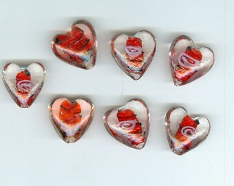 20mm Red Heart Beads Set 7 with Clear and black 0102