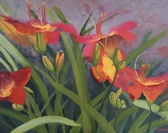 "impressionist impasto oil painting ""Daylily Dance"" art on canvas"