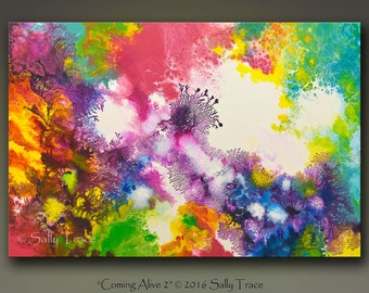 Abstract painting, original painting, acrylic painting, fluid painting, pour painting, cosmic, expressionism