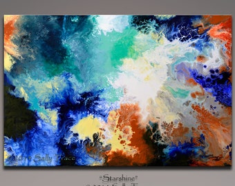 Canvas giclee print from my original abstract painting, Starshine, large wall art, fluid art, space art, large wall art
