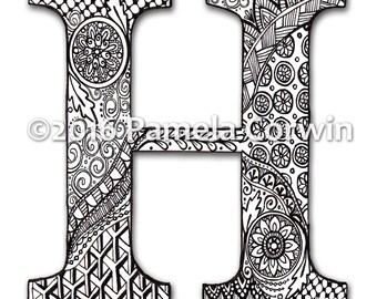 H Monogram Coloring Page