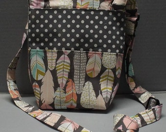 Gracie's Hipster Bag, Crossbody Bag or Purse, Feathers and Dots Fabric