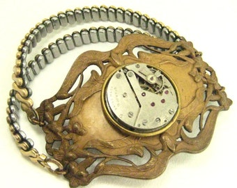 Old Filigree Bracelet  ... Steampunk Watch Movement Vintage Filigree Cicotiran Bracelet One of a Kind