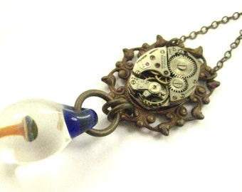 Shroom Time ... Steampunk Lampwork Mushroom and Vintage Watch Movement One of a Kind Creation