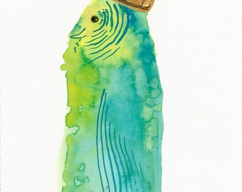 Crowned Budgie / watercolour gouache original