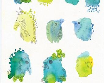Splodge Bird Collection / yellow blue and green / watercolour gouache original