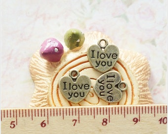 10 pcs Antique Bronze Heart I Love You Metal Charm Pendant