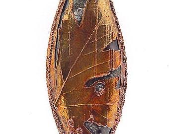 Copper Electroformed Maple Leaf Focal Bead