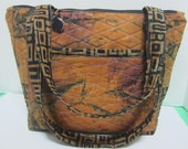 Black and Clay Quilted Geometric Large Purse or Tote Bag 800