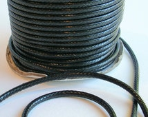3mm Waxed Polyester Cord (C81) 3 Yards Black Thick Leather Like Cord for Jewelry Making Bracelets Shipping from USA