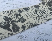 Linen Black and Natural Printed Valentine Love Ribbon 2.5 inch wide