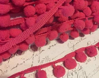 Raspberry Pink Dangling Pom Pom Trim