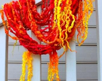 Handspun Art Yarn- Kangaloon Sunrise- Signature Jazztutle TextureSpun Artisan Yarn