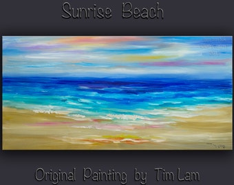 Landscape painting abstract sea art Beach Wave large original painting on gallery wrap canvas Ready to hang by tim Lam 48x24