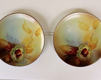 Hand-Painted Noritake Plates - Small Plates - Japan - Collectible Plate - Brown Yellow Acorn - Painted