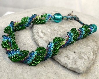 Green Mermaid Necklace Green Bead Rope - Enchanted Necklace - Spiral Rope Necklace - seed bead rope Green Woven Necklace - Sea Weed Necklace
