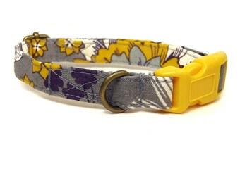 Bohemian Rhapsody - Gray Yellow Purple Bohemian Organic Cotton CAT Collar Breakaway Safety - All Antique Brass Hardware