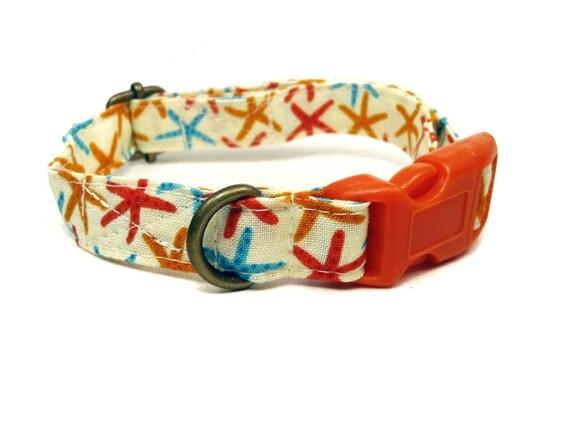 The Beach - Organic Cotton CAT Collar Breakaway Safety Yellow Sea Stars - All Antique Brass Hardware