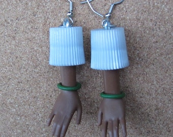 Upcycled African American Barbie doll hand earrings - green bangles
