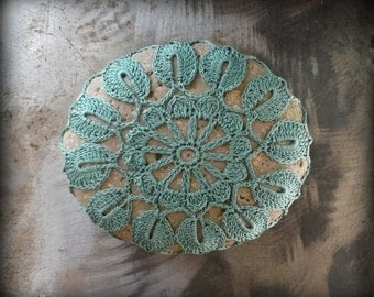Crocheted Lace Stone, Fern Green, Handmade, Lace Stone, Crocheted, Table Decorations, Home Decor, Monicaj
