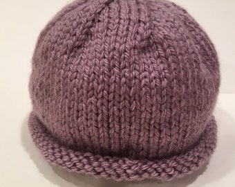 Silver Purple 0-3m Knit Baby Hat - Handmade - READY TO SHIP