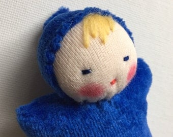 royal blue, Waldorf doll, Pocket doll, germandolls, waldorf baby,  waldorf toy, treat for kids