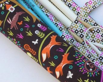 knitting needle case - knitting needle organizer - circular knitting needle case -whimsical woodland - 36 pockets