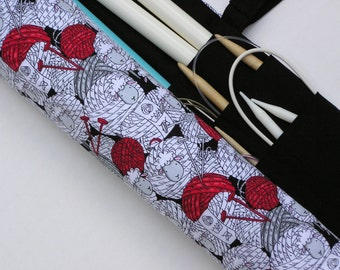 knitting needle case - knitting needle organizer - circular knitting needle case - whimsical yarn skein sheep - 36 pockets