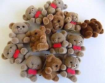 Vintage Flocked Bears Lot of 13 Kawaii Animals Made in Taiwan