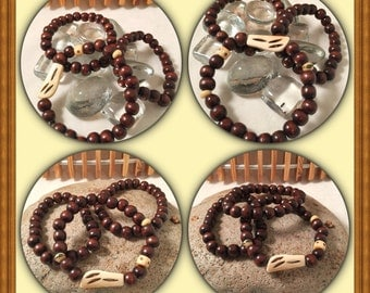 Brown Suga Collection .. Set of Three Hand-Beaded Bracelets