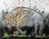 Buffalo Painting - Small Original 8x10  Painting - Pop Art Buffalo - Bison painting - Black and White - Buffalo NY - Buffalo Gift