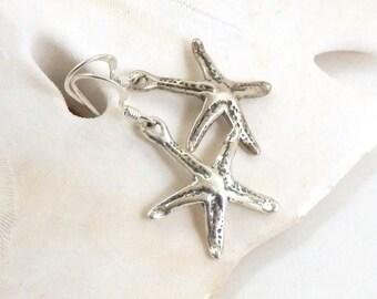 Sterling Starfish Earrings, Minimalist Earrings, Nature Inspired Oxidized Sterling Dangle, Modern Starfish, Ocean Dangles, Marin