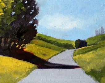 Oil Painting, Landscape Original, Small 6x8 Canvas, Summer Road, Field Trees, Meadow Trail, Prairie Sky, Blue Green Yellow, Wall Decor