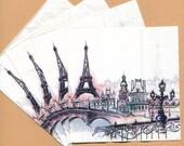 PN005 ~ Set of 4 Paper Napkins ~ by BlueInk Studios ~ 5 x 5 Parisian View Eiffel Tower