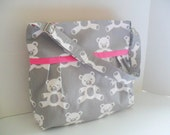 Diaper Bag - Gray Bear -Pink - Adjustable Strap - Bear Diaper Bag - Messenger Bag - Bags and Purses -  Stroller Straps