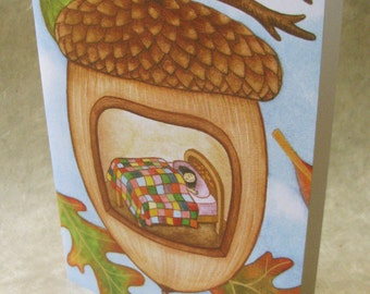 5 x 7 Notecard - A034 ACORN CHILD // fall card / autumn card / convalescence / seasonal / quilt / comfort / leaves / sleeping / watercolor