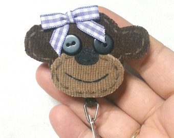 Monkey Badge Reel, Monkey Badge Card Holder, Monkey, ID Holder, Nursing Name Badge Holder, Badge Reel, Retractable,Lanyard
