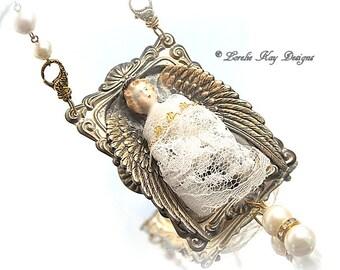 Angel Necklace Blonde Frozen Charlotte Doll Assemblage Necklace Sculpted Original Angel Doll Pendant