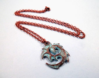 Dragon Pendant Necklace, Teal Verdigris Patina Finish, Copper Chain Necklace, FREE Shipping U.S.