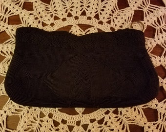 Vintage 1940's 50's Black Corde Clutch Purse 5.5 x 10 inches
