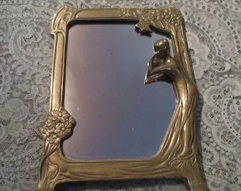 ON SALE Vintage Art Deco Brass Mirror Lady Nymph Table Top Nouveau