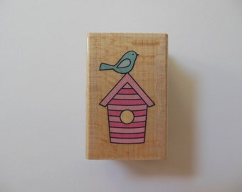 Bird on a Birdhouse Rubber Stamp - Wood Mounted Rubber Stamp