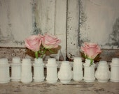 Milk glass bottle set, Instant collection, White vase wedding decor, shabby chic vintage wedding table decor, set of 10 milk glass budvases
