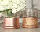 Rose Gold vases, wedding decor, 24 rose Gold dipped centerpiece vases, rose gold glitter vase, wedding table decor, rose gold candle holder