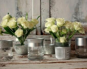"Silver dipped vases, glitter wedding decor, 12 4"" CUSTOM  silver vases for wedding centerpieces, silver wedding, glitter table decoration"