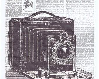 Camera.Snapshot.Original Instagram.Gift. Retro.Book Page Collage Print.Home Deco,Old School.artist.mom.dad.photographer.vintage.french.paris