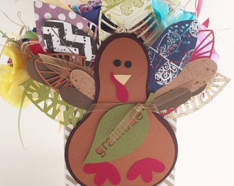 Happy Thanksgiving Turkey with Lollipop Tissue Paper Flowers Party Favor for Kid's Table