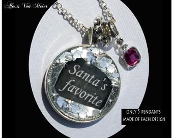 Santa's Favorite, glitter pendants, glitter, sparkle, bling, original art pendants, gift boxed, Christmas pendants, Santa Claus, Christmas