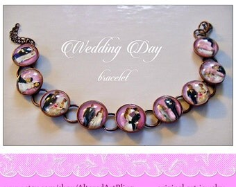 Wedding Day bracelet,  original art  bracelet...ready to ship with gift box, bide and groom, caketoppers, vintage bride, giftd for the bride
