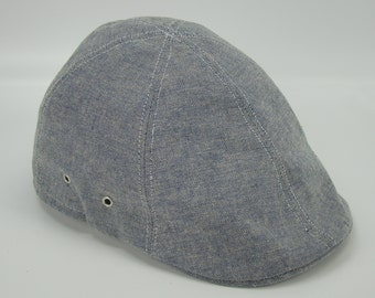 Blue Chambray 6-Panel Handmade Duckbill Ivy Flat Cap Driving Cap for Men - Custom Hats